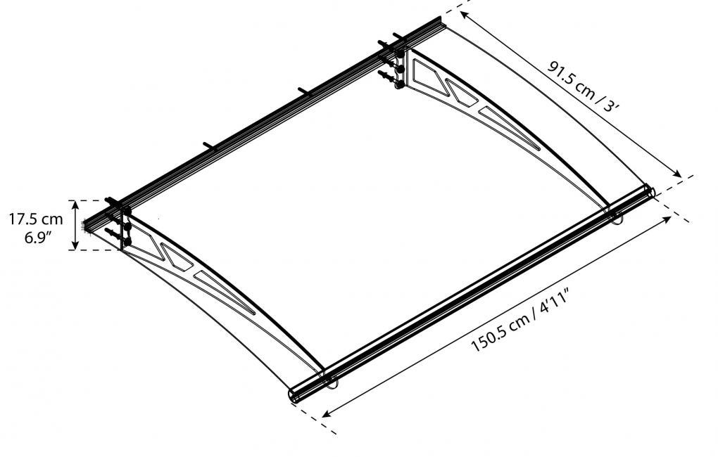 Altair előtető szerkezeti rajz méretekkel
