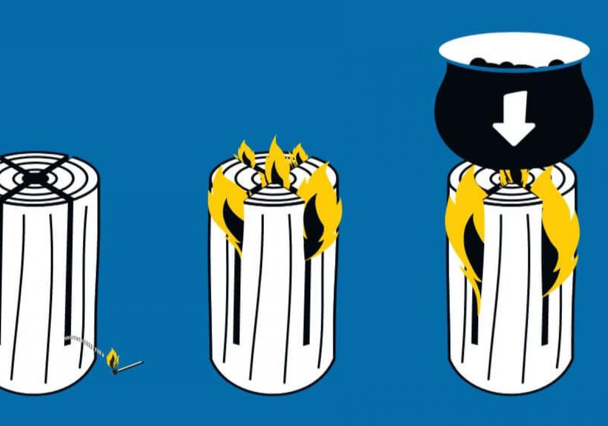 Svéd tűz égési elve